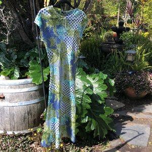 Komarov NWT L dress blue green flattering